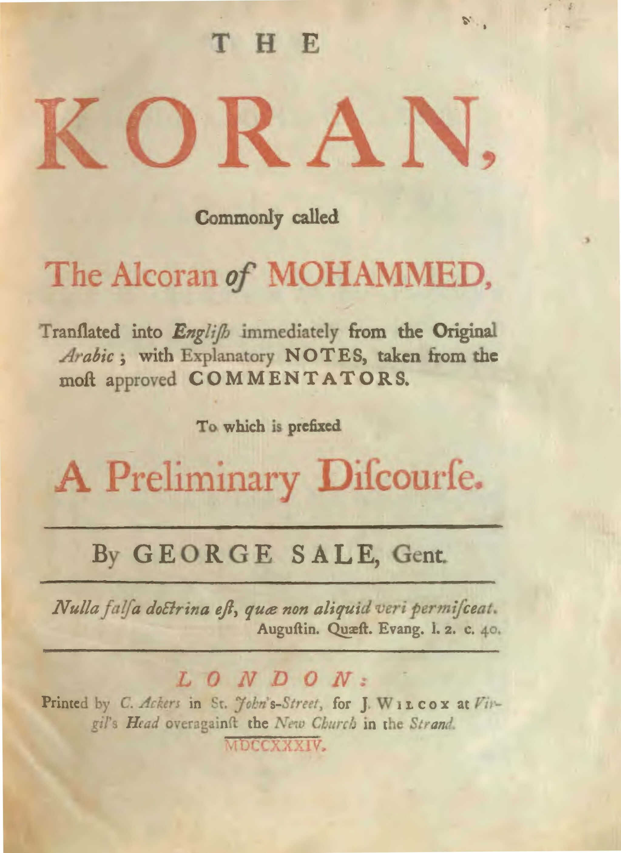 George Sale 1734 Quran Explorer, Page 1